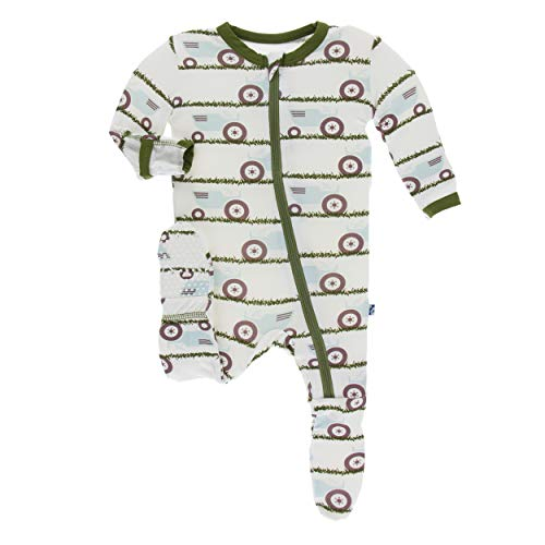 Kickee Pants Little Boys Print Footie with Zipper - Natural Tractor and Grass, Preemie