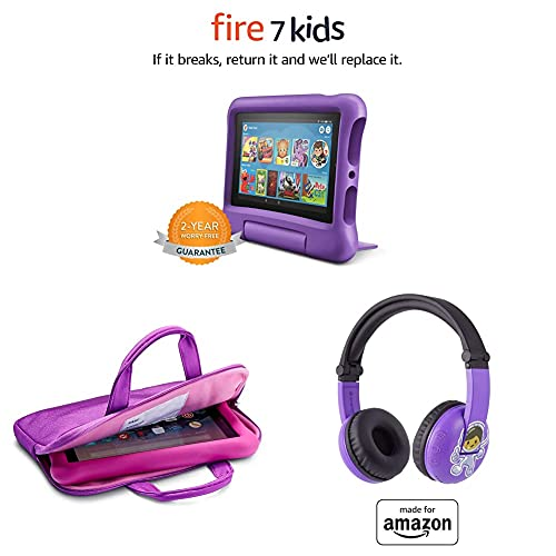 Fire 7 Kids Essential Bundle including Kids Fire 7 Tablet 16GB Purple + Playtime Bluetooth Headset + Tablet Carrying Sleeve