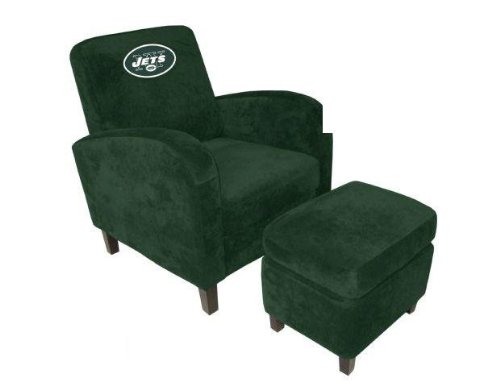 Imperial 621012 NFL New York Jets Den Chair with Ottoman by Imperial