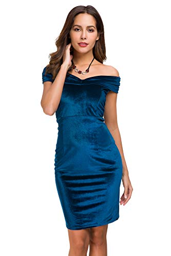 Womens Vintage Off Shoulder Shawl Velvet Bodycon Dresses Sexy Midi Slim Fit Dress for Party Cocktail Formal Evening Wedding