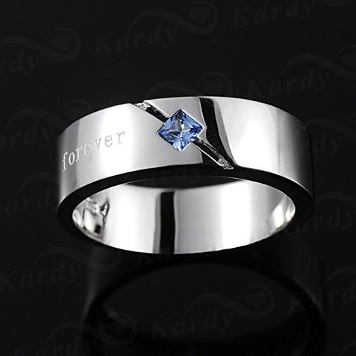Men's Natural Blue Spinelle Gemstone Solid 925 Silver Gold White Plated Engagement Wedding Promise Fashion Band Ring Set by Kardy (Image #1)