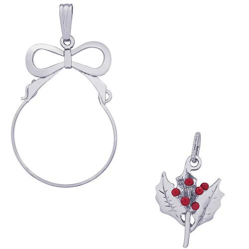 Rembrandt Charms Red Enamel Christmas Holly Leaf Charm on a Rembrandt Charms Bow Charm Holder