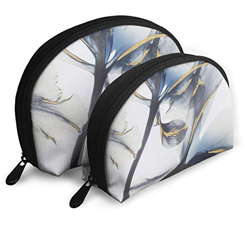 Iris X-Ray Flower High Gloss Shell Portable Bags Clutch Pouch Cosmetic Makeup Bag Pouch 2Pcs