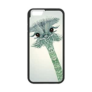 NADIA DaojieTM Generic Hand Painted Animal Cartoon Series Cute Ostrich Color Design Popular Green and Grey Custom Luxury Cover Case for Iphone 6 Plus(5.5inch)(black)