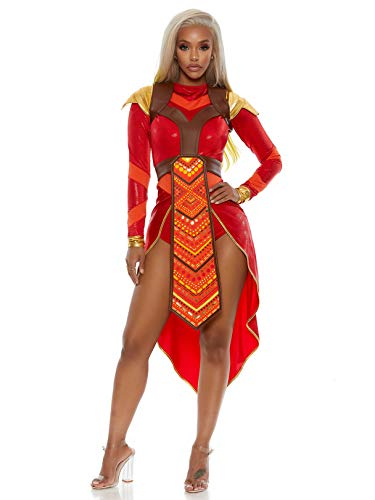 Forplay Women's Wakanda Forever Epic Warrior Costume, red, X-Small/S