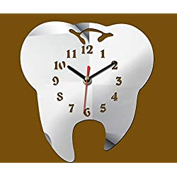 Easyinsmile Modern Minimalist Wall Clock Tooth-Shaped Acrylic Mute Dental Decoration Ornament Wall Clock Creative Mirror Wall Clock (Silver)