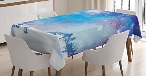 Ambesonne Night Sky Tablecloth, Christmas Themed Abstract Snow Winter Scenery Pine Trees, Dining Room Kitchen Rectangular Table Cover, 60 W X 90 L inches, Light Blue and Dark Blue -