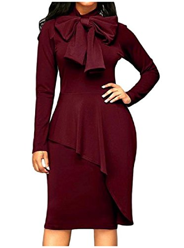 Red Knee Knot Bow Bodycon Wine Comfy Long Dress Length Mid Women's Sleeve 4xw7qgqfP