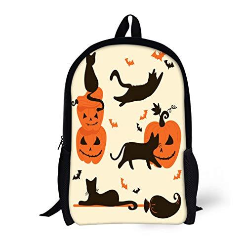 Pinbeam Backpack Travel Daypack Orange Animal Halloween Cats and Pumpkins Trick Treat Waterproof School Bag ()