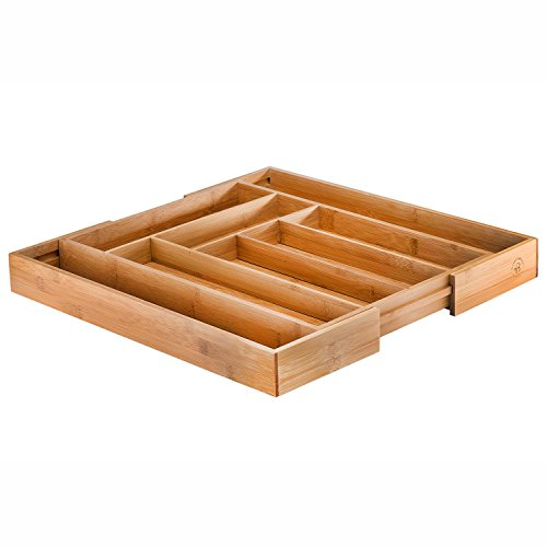 Bamboo Office Desk Organizer – 8 Small Compartments with Adjustable Dimensions Best for Pens, Notepads, Small Electronics and more (Not for Utensils). By: Bambüsi