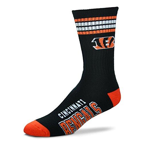 NFL Cincinnati Bengals 4 Stripe Deuce Socks, Large