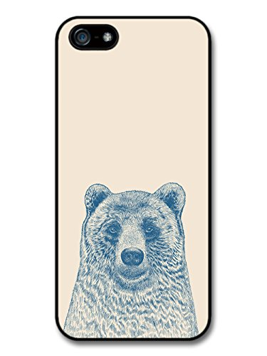 Cool Cute Funny Bear Illustration in Blue Hand Drawn Style case for iPhone 5 5S
