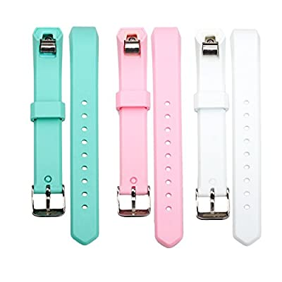 bayite Accessory Silicone Watch Bands with Watch Buckle for Fitbit Alta Pack of 3, 5.5 - 7.8 inches