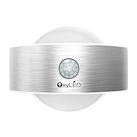 OxyLED Wall Light,2-in-1 Wall Lamp,Up and Down Wall light,14 LED Motion Sensor Night Light,Indoor Security Light for Stair,Kitchen,Bathroom,Laundry Room,Hallway,Closet (White Light,Semicircle Shape)