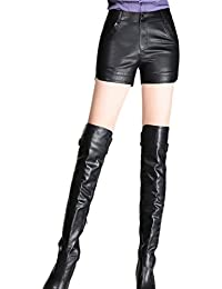 Women Casual PU Leather Stretchy Solid Elegant Shorts Pants Plus Size