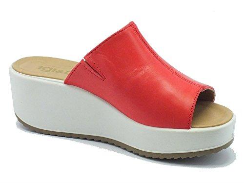 Sandalias IGI & Co para mujer de piel roja Zeppa alta Vegetal Kiss