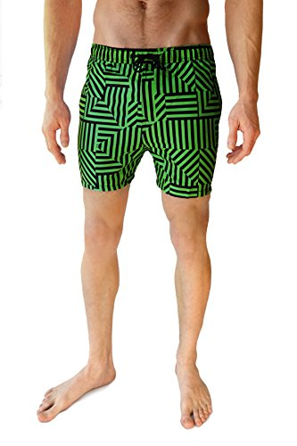 Cabana Bro Men's Swim Short - The Brochellas Pattern Swim Trunk,Neon Green/Black,Medium