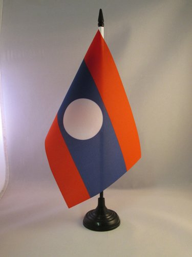 BANDIERA DA TAVOLO LAOS 21x14cm - PICCOLA BANDIERINA LAOTIANA 14 x 21 cm - AZ FLAG