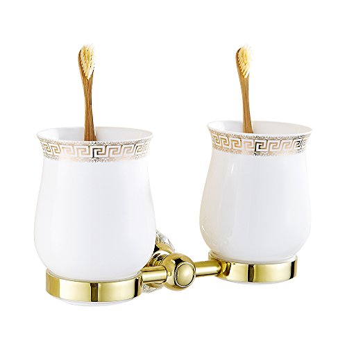 AUSWIND Antique Gold Brass&Crystal Wall Mounted Bathroom Accessory XH (Toothbrush Holder)