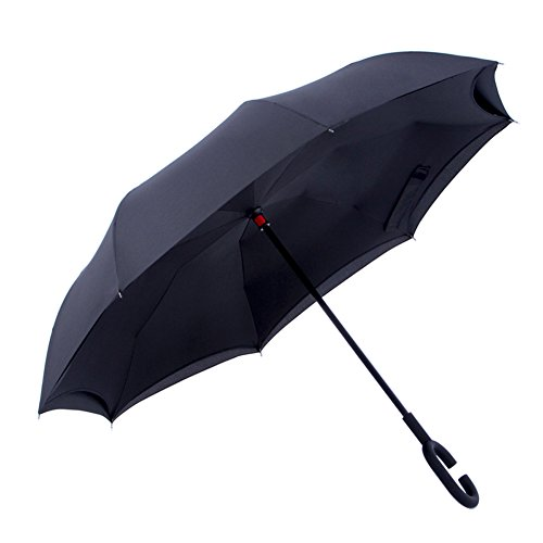 NEWBRELLAs Unique Inside Out Closed Inverted Wet Drip Free Car Umbrella - Self Indoor Stand Umbrellas with Hands Free C Shaped Handle - Black