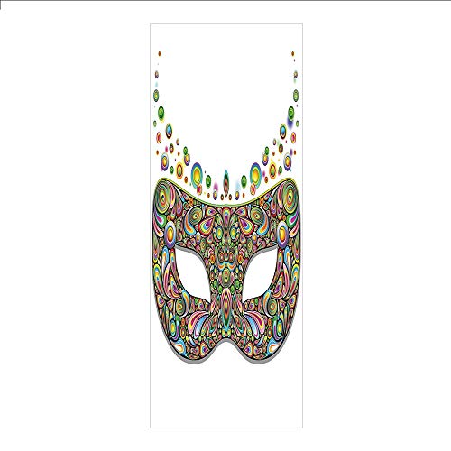 3D Decorative Film Privacy Window Film No Glue,Masquerade,Mask in Psychedelic Art Design Pop Makeup in Vibrant Rainbow Colors Pattern,Multicolor,for -