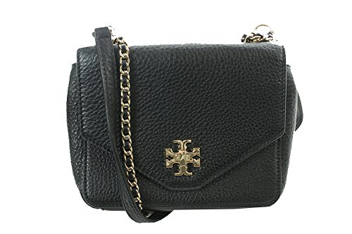 Tory Burch Black Gold Kira Mini Chain Crossbody OSFA (Kira Handbag Tory Burch)