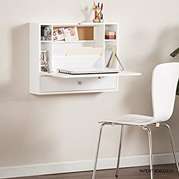 Southern Enterprises Willingham Wall Mount Folding Laptop Desk, White Finish