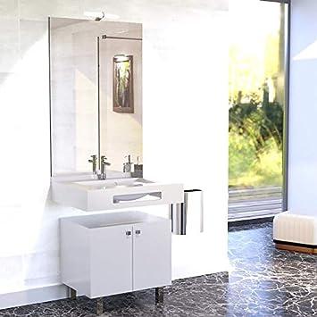 Meuble Salle De Bain Pmr Lea 70 Blanc Brillant Amazon Fr
