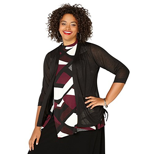 -AVENUE Women's Side Ruched Tie Cardigan, 30/32 Black