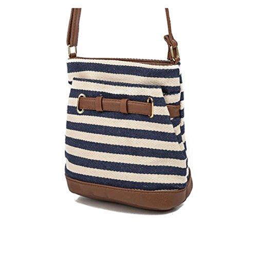 Canvas Tote Women Coffee Shoulder FALAIDUO Navy BagsHandbags Stripe Bag IZ1ng
