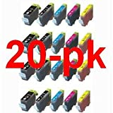 20 Pack BCI-6 BCI-3e Compatible Ink Cartridges for Canon BJC-3000 Series,6000,i450, i550,560,850,860,Multipass C555,C755,F30,F50,F60,F80,MP700,730 # PIXMA iP3000,iP4000,iP4000R,iP5000,MP750,MP760,MP780 printer, Office Central