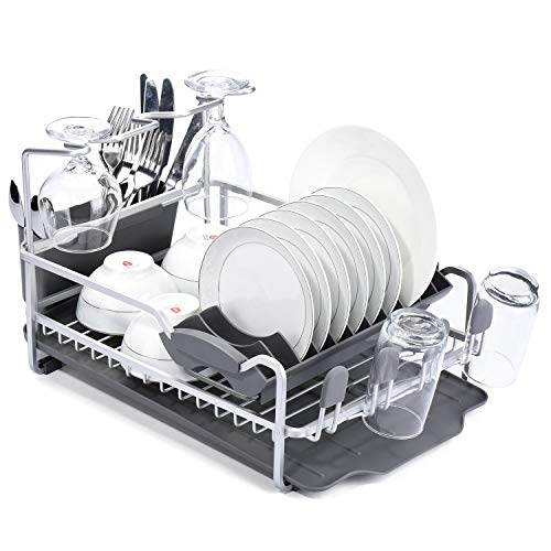Glotoch Aluminum Dish Drying Rack with Expandable Over Sink Dish Rack, Rust Proof Frame, Cutlery Holder, Wine Glass Holder & Cup Holder for Kitchen,16x12x11 inch