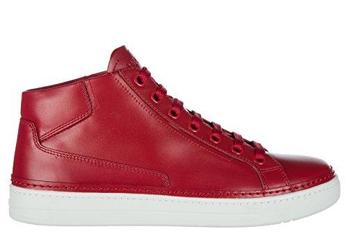 Prada Herresko Herre Lædersko Høje Sneakers Rød LCF47gzy