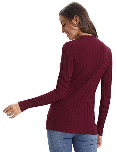 A Pullover Maglieria Rosso Regalo Lunga E Vestito Caldo Maglione Donna girocollo Lungo Alto Dolcevita Collo Manica Vino Maglioni Eleganti Abollria Invernali Ideale Girocollo xTRYqzp