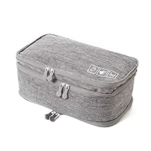 Gloriest Underwear Bra Storage Bag, Travel Organizer Ultralight Luggage Double Layer Cosmetic Bag, Toiletry Packing Cube Foldable Accessories Bag, Grey