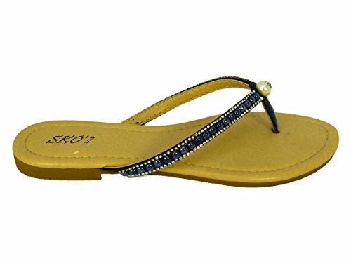 Damen Sommer Damen Post Beach Diamante Schuhe Toe Flache SZ Schwarz Wh1701 Party HOILDAY 3 Sandalen HdwXdr