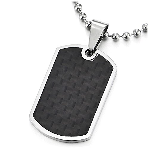 - COOLSTEELANDBEYOND Stainless Steel Mens Dog Tag Pendant Necklace with Carbon Fiber and 23.6 inches Ball Chain