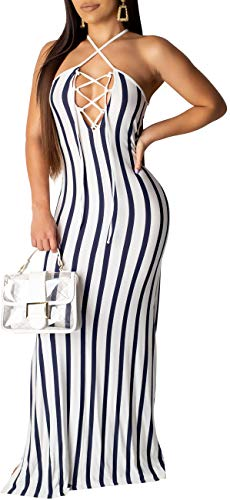 Women's Sexy Halter V Neck Straps Long Maxi Dresses Clubwear Bodycon Sleeveless Drawstrings Striped Floor Length Clubwear Stretchy Comfy