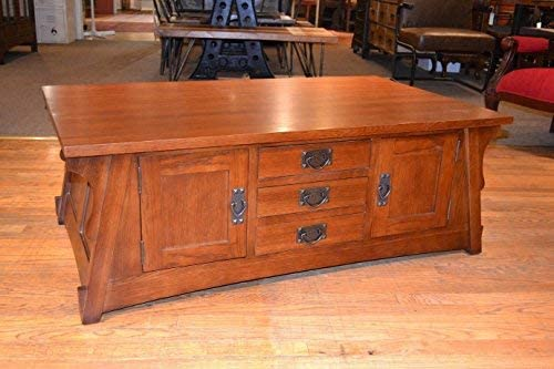Crafters and Weavers Crofter Style Mission Oak Coffee Table with Drawers and Cabinets