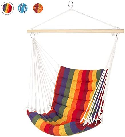 Best Choice Products Indoor Outdoor Padded Hanging Cotton Hammock Chair w 40in Wooden Spreader Bar – Multicolor