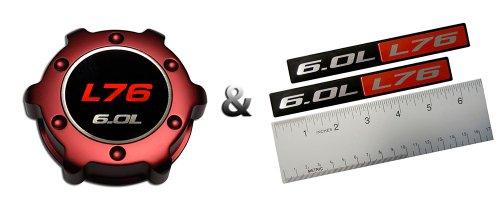 Badge Billet (VMS RACING COMBO RED L76 6.0L OIL CAP in Billet Aluminum + (pack of 2) RED BLACK 6.0L Liter L76 Real Aluminum Engine Hood Emblem Badge Nameplate Crate Compatible with Pontiac G8 V8 Holden HSV)