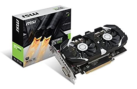 MSI GeForce GTX 1050 2GT OC - Tarjeta gráfica (refrigeración Dual Fan, 2 GB Memoria GDDR5)