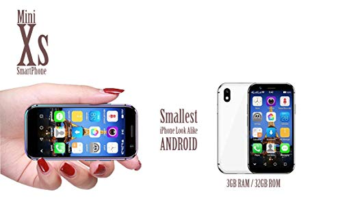"""Mini Smartphone iLight Xs, World's Smallest X Android Phone 4G LTE, Super Small Tiny Micro HD 3"""" Touch Screen. Global Unlocked Great for Kids, Child. 3GB RAM / 32GB ROM. Tiny iPhone 10s Look Alike"""
