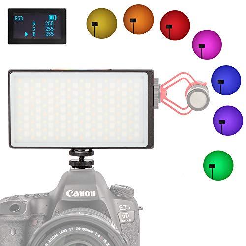 Mini Pocket 0-360 Full Color RGB Camera Lighting On-Camera Video Light for DLSR Camera Camcorder Built-in 3300 mAh Rechargeable Battery 2500K-8500K Adjustable, 0-100% Stepless Dimming CRI/TLCI 95+