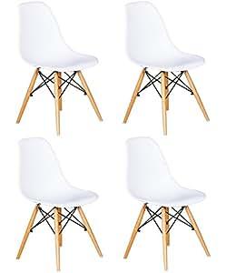 SuperStudio Dinamarsil - Juego 4 sillas con asiento de resina