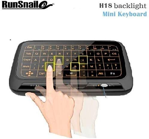 Runsnail Mini H18 Wireless Keyboard 2.4 G Portable Keyboard with Touchpad Mouse for Windows Android//Smart TV Linux Windows Mac Color: Black