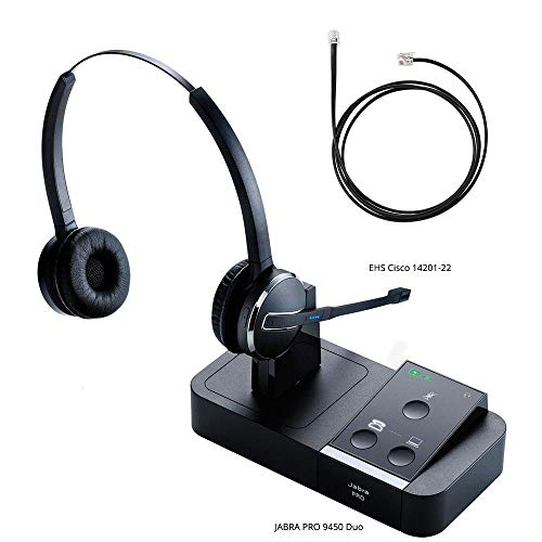 Jabra PRO 9450 Duo Flex Boom Wireless Headset with EHS Cisco 14201-22 Cable, Bundle for Cisco Unified IP Phones (7900G Series)