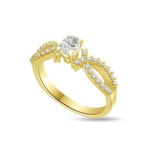 0.55ct F/VS1 Solitär Diamant Verlobungsring für damen mit Runder Brillantschliff Diamanten in 18kt (750) Gelbgold
