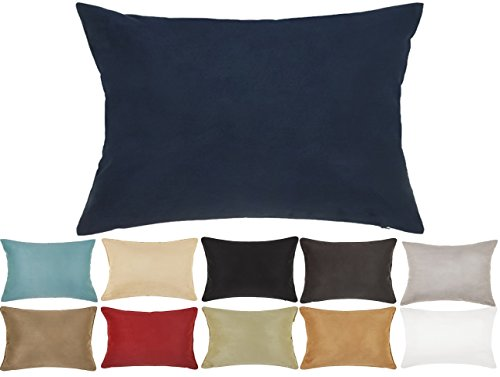 DreamHome 12 X 18 Inches Faux Suede Decorative Lumbar Pillow Cover/Sham (Navy)