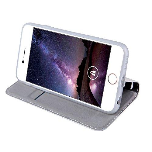 iPhone 6 Hülle, iPhone 6s Echte Rindsleder Brieftasche Hülle , COZY HUT® [Premium Leder Serie] [Wallet Case] Praktishe Ledertasche [Blau] Integrierter Aufstell Funktion und 5 Kartenfach Premium Leder  Weißes Leder